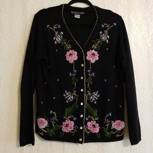 Vintage Beaded Floral Cardigan
